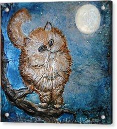 Cat Moon Crystal Night Acrylic Print by Arlene Delahenty