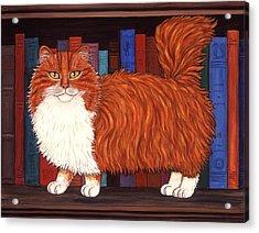 Cat On Book Shelf Acrylic Print by Linda Mears