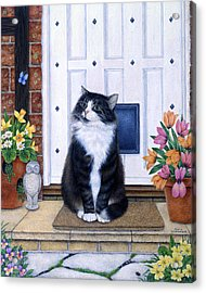 Cat On Mat Acrylic Print