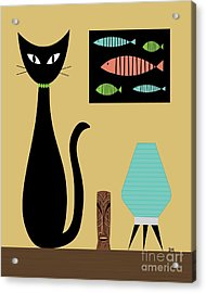 Cat On Tabletop Turquoise Lamp Acrylic Print