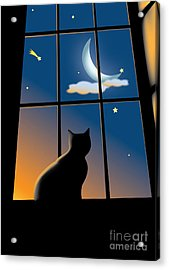 Cat On The Window Acrylic Print by Aleksey Tugolukov