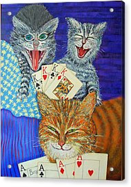 Cat Poker Acrylic Print