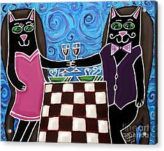 Acrylic Print featuring the painting Cat Romance by Cynthia Snyder