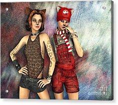 Cat Sisters Acrylic Print