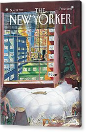 Cat Sleeping By The Window Acrylic Print by Jean-Jacques Sempe