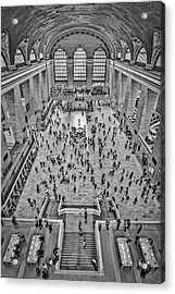 Cat Walk At Grand Central Terminal Bw Acrylic Print by Susan Candelario