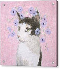 Cat With Purple Flowers Acrylic Print