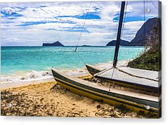 Catamaran On Waimanalo Beach Acrylic Print by Leigh Anne Meeks