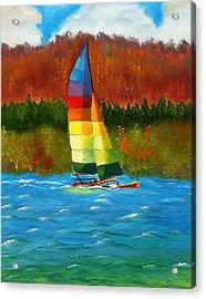 Catamaran Sailing Acrylic Print by Rossana Kelton