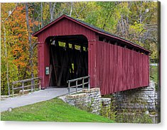 Cataract Covered Bridge Over Mill Creek Acrylic Print by Chuck Haney