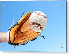 Catching A Baseball Acrylic Print by Joe Belanger