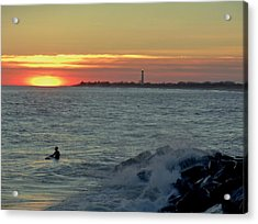 Catching A Wave At Sunset Acrylic Print by Ed Sweeney