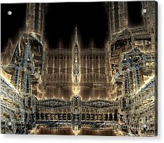Cathedral By Night Acrylic Print by Bernard MICHEL