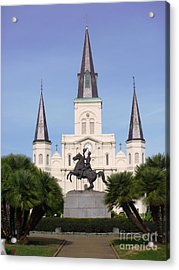 Acrylic Print featuring the photograph Cathedral In Jackson Square by Alys Caviness-Gober