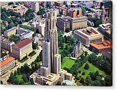 Cathedral Of Learning Aerial Acrylic Print by Pittsburgh Aerials