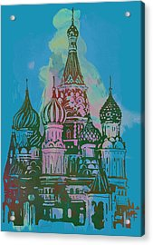 Cathedral Of St Basil  Kremlin Moscow  - Pop Stylised Art Poster  Acrylic Print