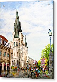Cathedral Plaza - Jackson Square, French Quarter Acrylic Print by Dianne Parks