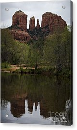 Cathedral Rock And Reflection Acrylic Print by Dave Gordon