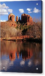 Cathedral Rock And Reflections At Sunset Acrylic Print by Michel Hersen