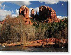 Cathedral Rock At Sunset, Red Rock Acrylic Print by Michel Hersen