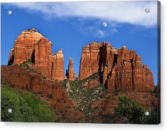 Cathedral Rock Moon Rise Color Acrylic Print