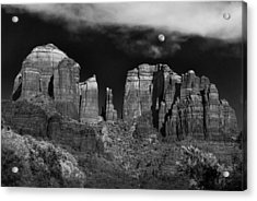 Cathedral Rock Moon Rise Acrylic Print by Dave Dilli