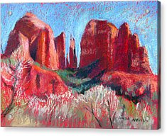 Cathedral Rock On Red Paper Acrylic Print