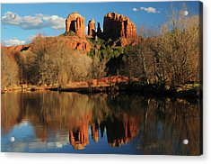 Cathedral Rock Reflections At Sunset Acrylic Print
