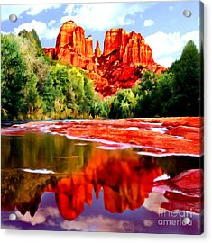 Cathedral Rock Sedona Arizona Acrylic Print by Bob and Nadine Johnston