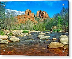Cathedral Rock Sedona Acrylic Print by Steven Barrows