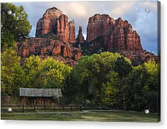 Cathedral Rock With Fall Colors And Rustic Building Acrylic Print by Dave Dilli
