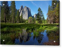 Cathedral Rocks Reflected In A Pond Acrylic Print by David Wall