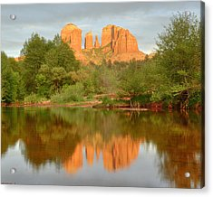 Acrylic Print featuring the photograph Cathedral Rocks Reflection by Alan Vance Ley