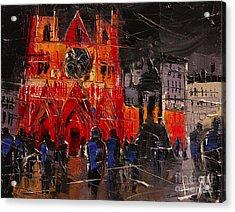 Cathedral Saint Jean-baptiste In Lyon Acrylic Print by Mona Edulesco