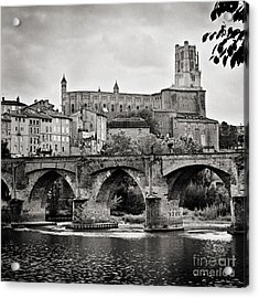 Cathedral St Cecile And The Old Bridge Over The River Tarn At Albi France Europe Acrylic Print