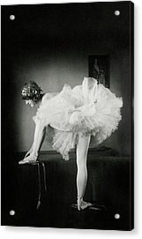 Catherine Crandell Tying Her Ballet Shoes Acrylic Print by Francis Bruguiere