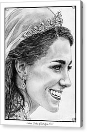 Catherine - Duchess Of Cambridge In 2011 Acrylic Print by J McCombie