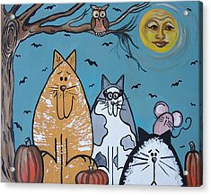 Cats And Harvest Moon Acrylic Print