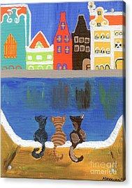 Cats Enjoying The View Acrylic Print by Melissa Vijay Bharwani