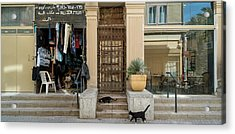 Cats On The Steps Of A Clothing Store Acrylic Print