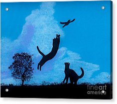 Acrylic Print featuring the drawing Cats -  Playing by D Hackett