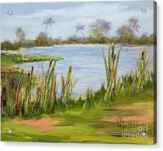Acrylic Print featuring the painting Cattails And Palms by Vic  Mastis