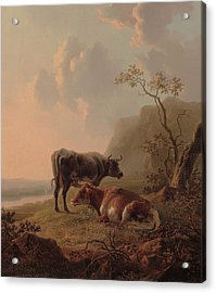 Cattle In An Italianate Landscape Acrylic Print
