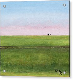 Cattle On The Levee Acrylic Print