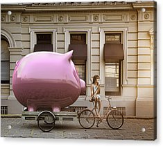 Caucasian Girl Pulling Piggy Bank On Bicycle Cart Acrylic Print by Colin Anderson Productions pty ltd