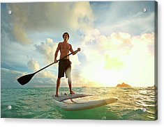 Caucasian Man On Paddle Board In Water Acrylic Print by Colin Anderson Productions Pty Ltd
