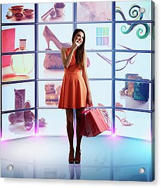 Caucasian Woman Shopping Online Acrylic Print by Colin Anderson Productions Pty Ltd