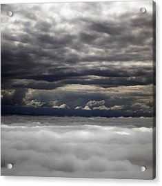Caught Between Two Cloud Layers Acrylic Print by Michael Riley
