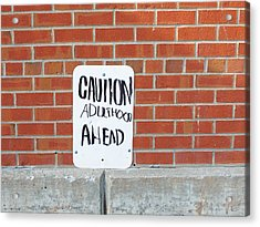Acrylic Print featuring the photograph Caution Adulthood Ahead by Brooke T Ryan