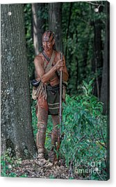 Caution Indian Warrior Bushy Run Acrylic Print by Randy Steele
